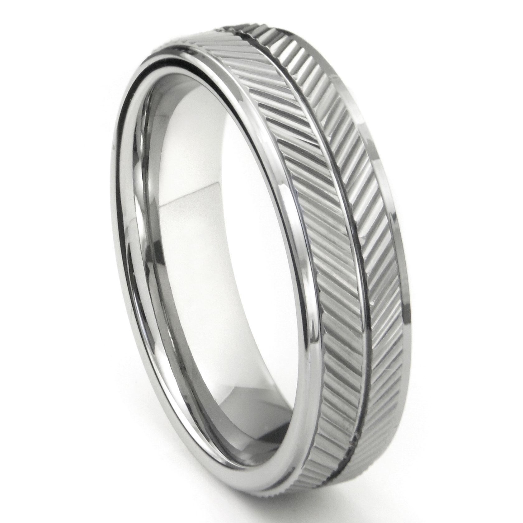 Tungsten Carbide 7Mm Diamond Cut Chevron Wedding Band Ring Inside Most Current Chevron Band Rings (View 11 of 15)