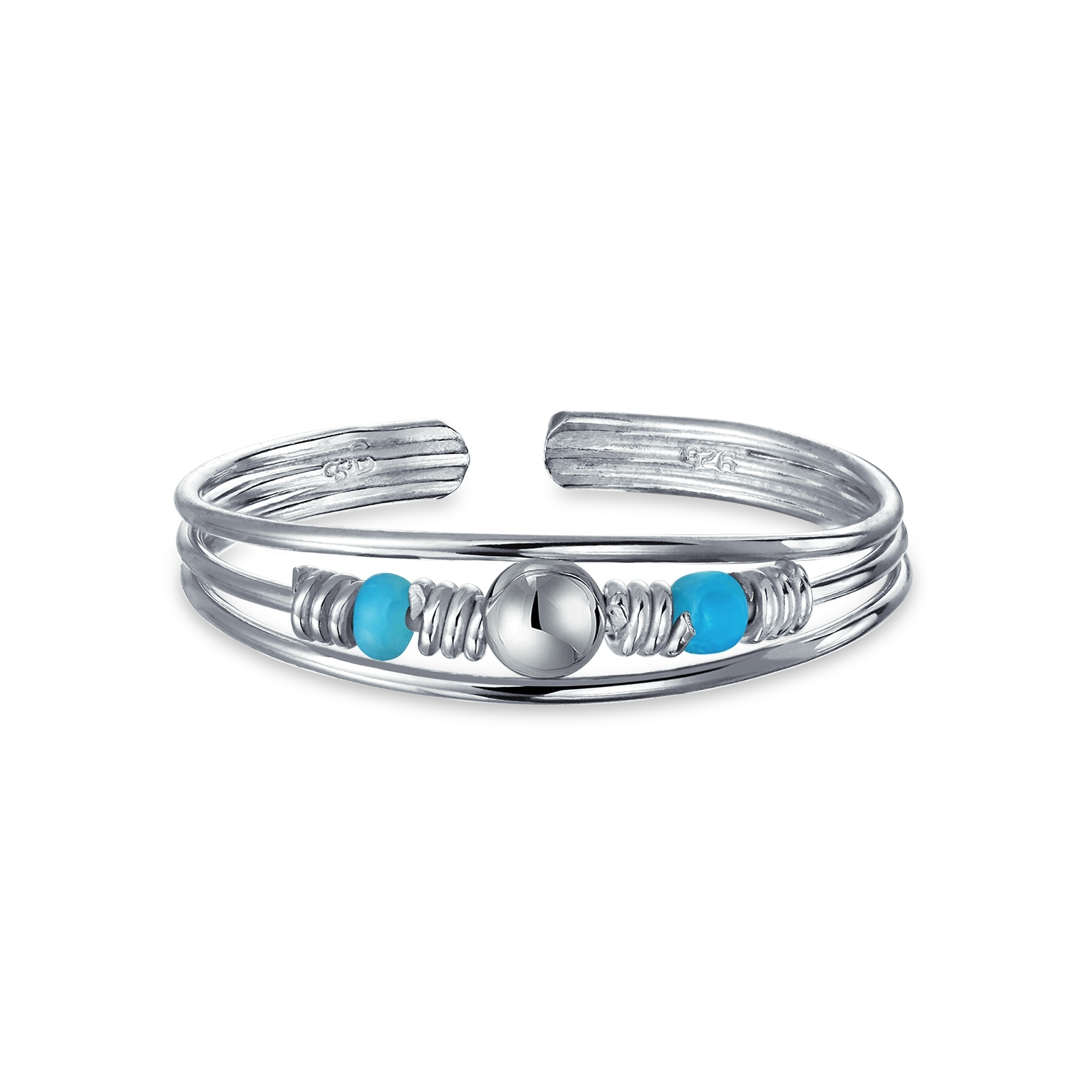 Turquoise Beaded Toe Ring December Birthstone Silver Midi Rings Throughout 2017 Birthstone Toe Rings (Gallery 13 of 15)