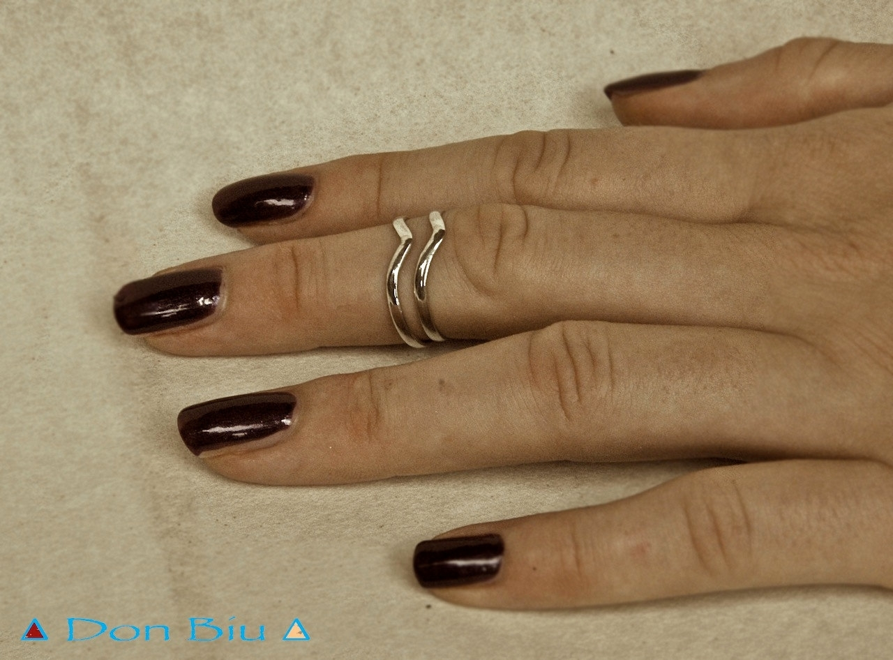 Two Chevron Midi Rings Set, Midiring, Sterling Silver Midi Ring Regarding Most Up To Date Chevron Midi Rings (View 8 of 15)
