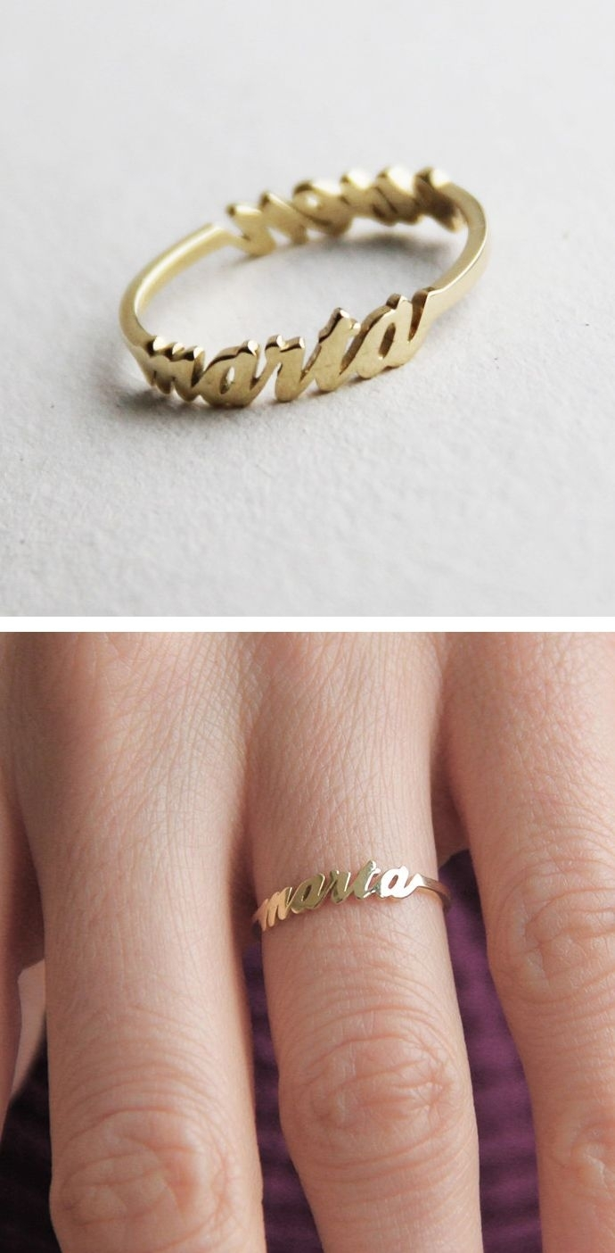 Two Name Ring, 14K Gold Ring, Mother Ring, Sister Ring, Best Regarding Latest Chevron Mothers Rings (View 14 of 15)