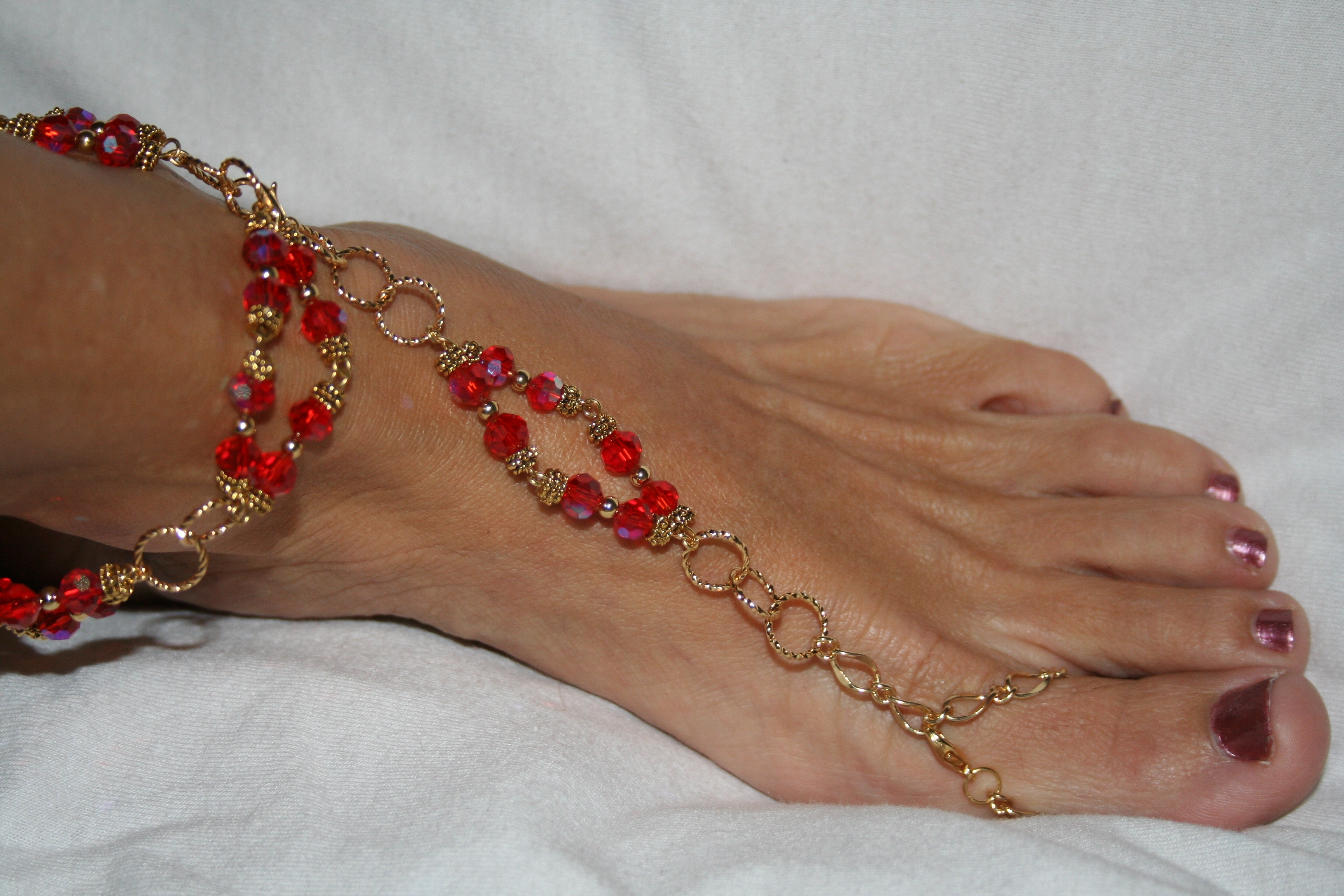 Unique Red Barefoot Sandal – Toe Ring And Ankle Bracelet, Florida With Recent Ankle Bracelet Toe Rings (View 8 of 25)