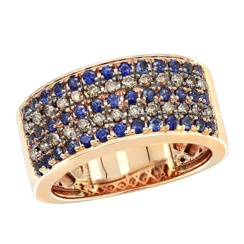 Unique Rings 10K Gold Blue Sapphire Brown Diamond Wedding Band For Men In Newest 10K Gold Toe Rings (Gallery 22 of 25)