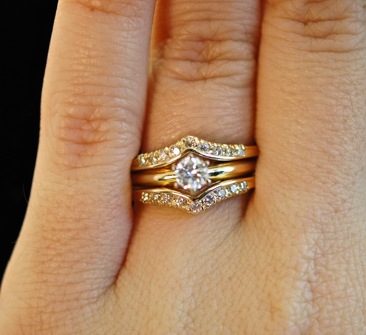 Vintage Diamond Engagement Wedding Ring Set – Solitaire Ring Throughout Current Chevron Band Rings (View 3 of 15)