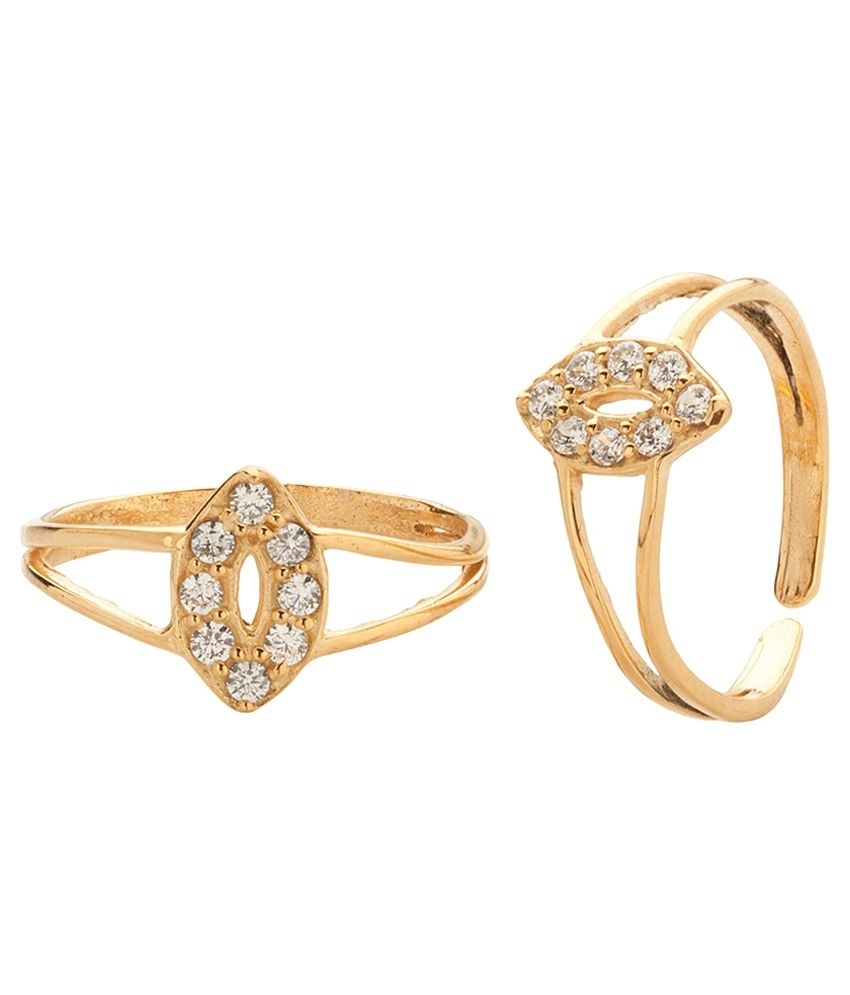 Voylla Gold Plated Toe Rings With Sparkling Cz Stones: Buy Voylla Within Current Voylla Toe Rings (View 12 of 15)