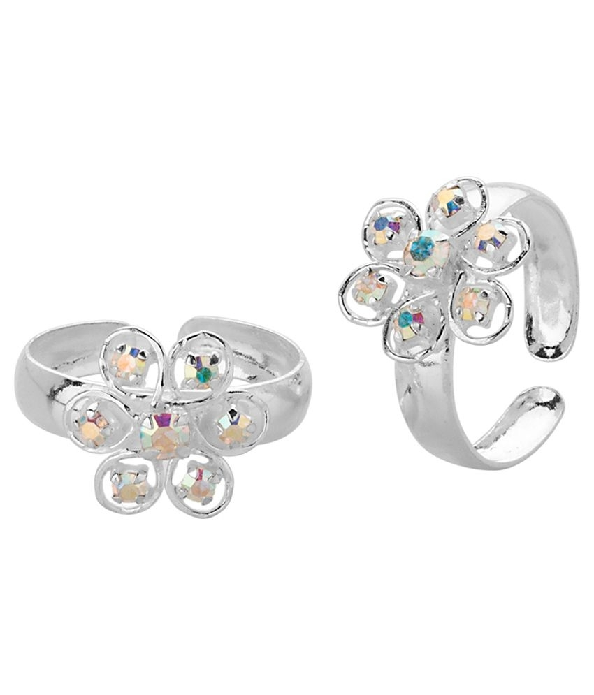 Voylla Toe Rings With Sparkling Rainbow Fire Flower Design In Within Best And Newest Voylla Toe Rings (View 15 of 15)