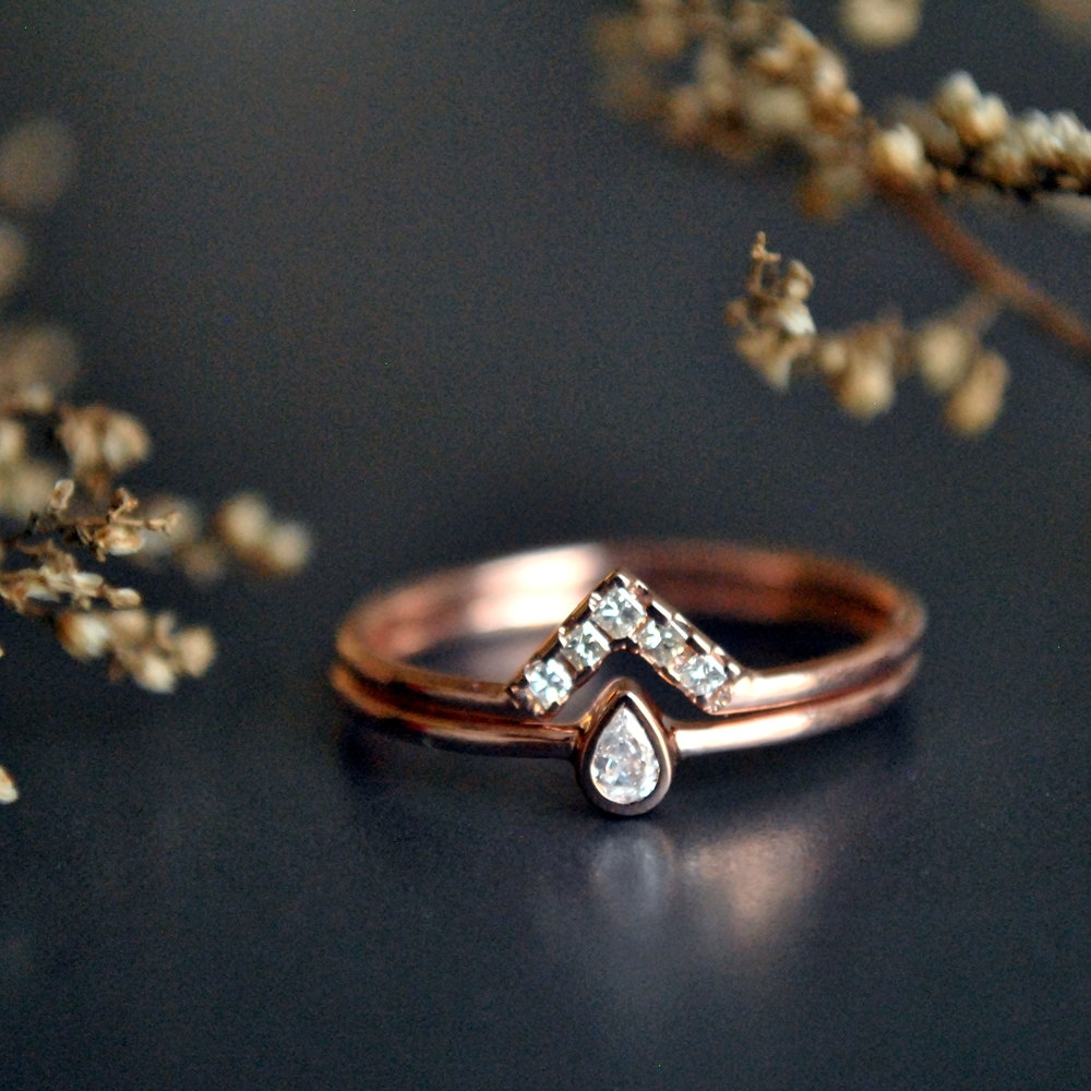 Wedding Ring Set. 14K Rose Gold Pear Baby Diamond Bridal With Best And Newest Chevron Stone Rings (Gallery 12 of 15)