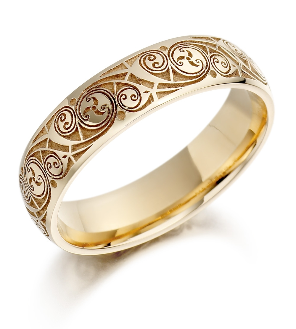 Wedding Rings |  Wedding Ring – Mens Gold Celtic Spiral Triskel Within Recent American Swiss Toe Rings (View 15 of 15)