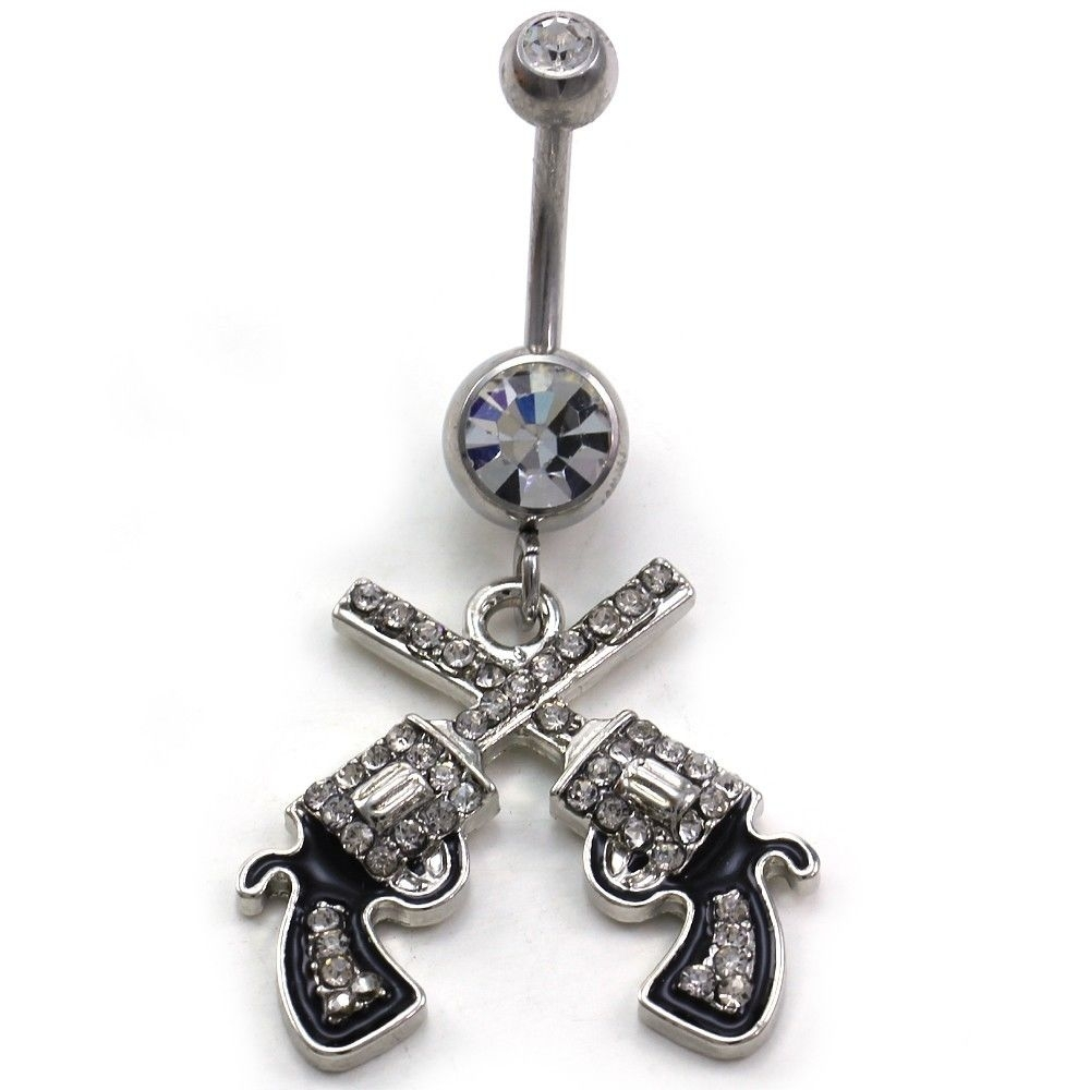 Western Cowgirl Revolver Pistol Gun Dangle Belly Button Navel Ring Within Most Up To Date Chevron Belly Button Rings (View 5 of 15)