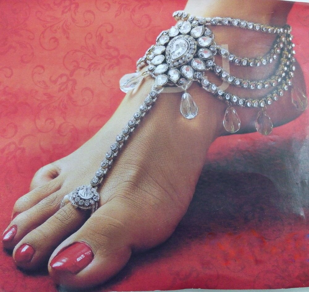 White Cz Gold Tone Indian Bollywood Heavy Bridal Toe Ring Anklet With Regard To Current Indian Toe Rings (View 10 of 15)
