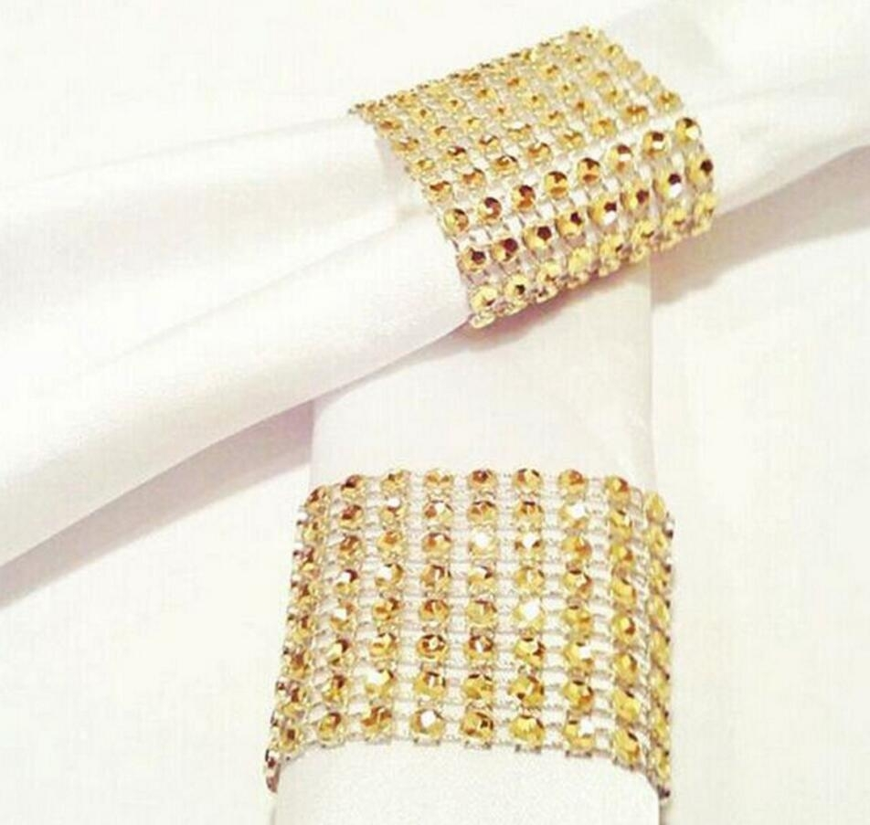 Wholesale 8 Rows Gold Plated Crystals Mesh Wrap Napkin Ring Pertaining To 2017 Chevron Napkin Rings (Gallery 319 of 339)