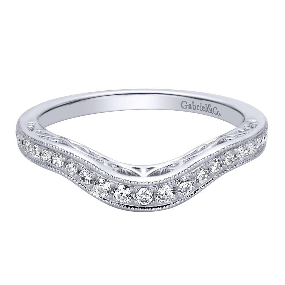 0.21 Ct F G Si Diamond Curved Wedding Band In 14K White Gold Pertaining To Most Current Diamond Vintage Style Contour Wedding Bands In 14K White Gold (Gallery 3 of 15)
