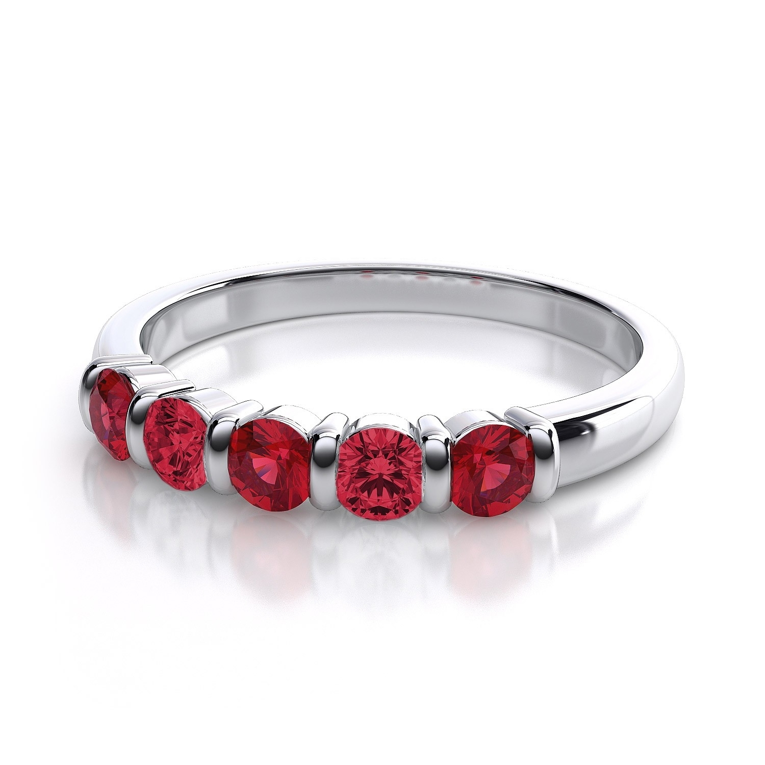 0.50 Carat Five Stone Ruby And Diamond Ring In 14K White Gold I1 I With 2018 Ruby And Diamond Five Stone Anniversary Bands In 14K White Gold (Gallery 6 of 15)