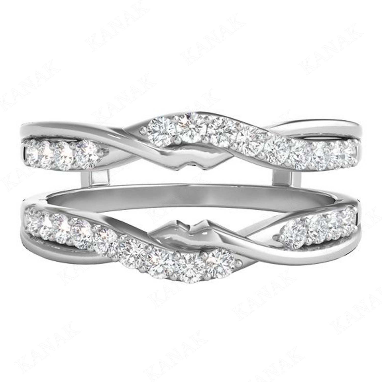 0.50 Ct Natural Diamond 14K White Gold Wrap Guard Enhancer Jacket Within Most Current Diamond Contour Solitaire Enhancers In 14K White Gold (Gallery 14 of 15)