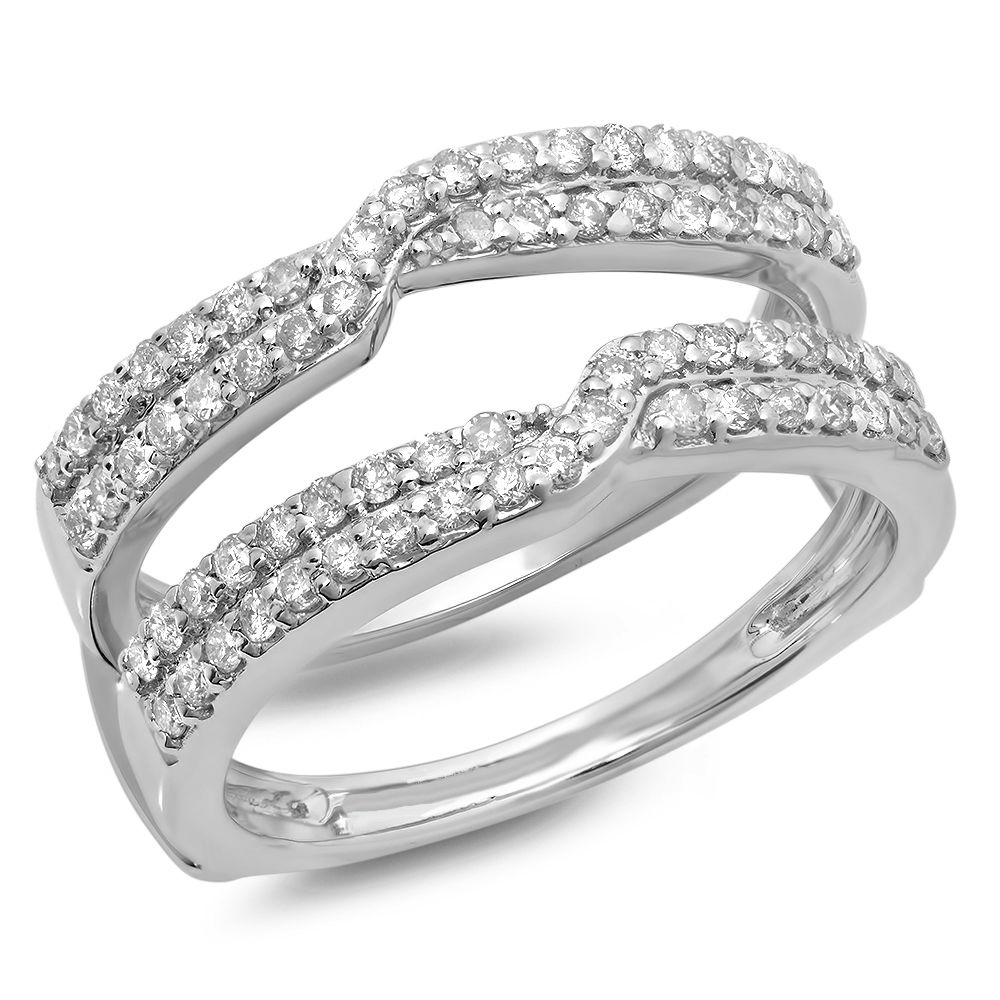 0.65 Ct 14k White Gold Round Diamond Ladies Wedding Enhancer Guard Intended For Current Diamond Contour Solitaire Enhancers In 14k White Gold (Gallery 2 of 15)