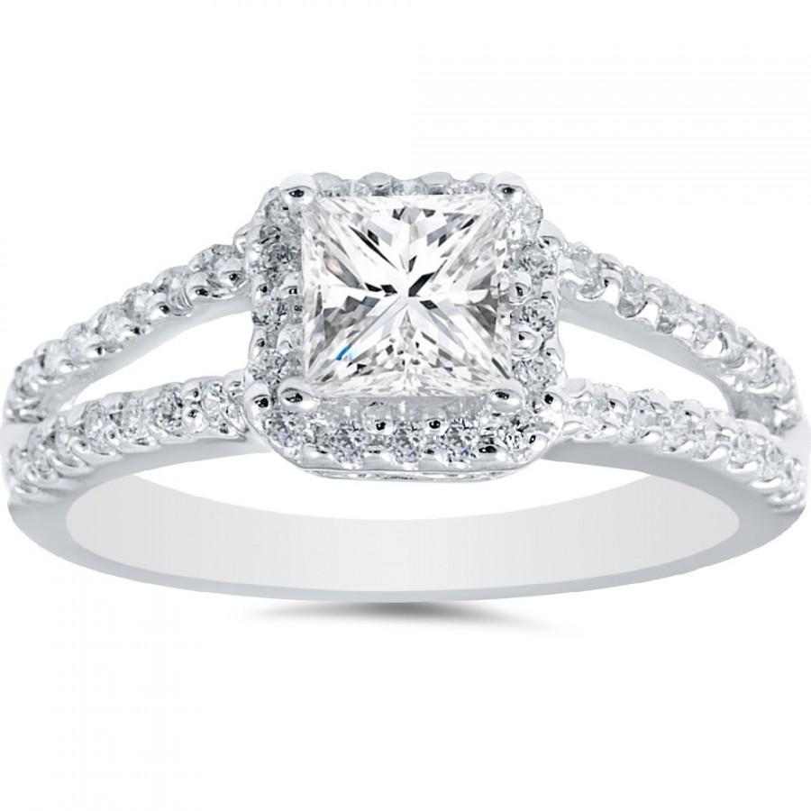 1.03 Cttw Diamond Princess Cut Halo Vintage Style Engagement Ring Inside Newest Vintage Style Princess Cut Diamond Engagement Rings (Gallery 5 of 15)
