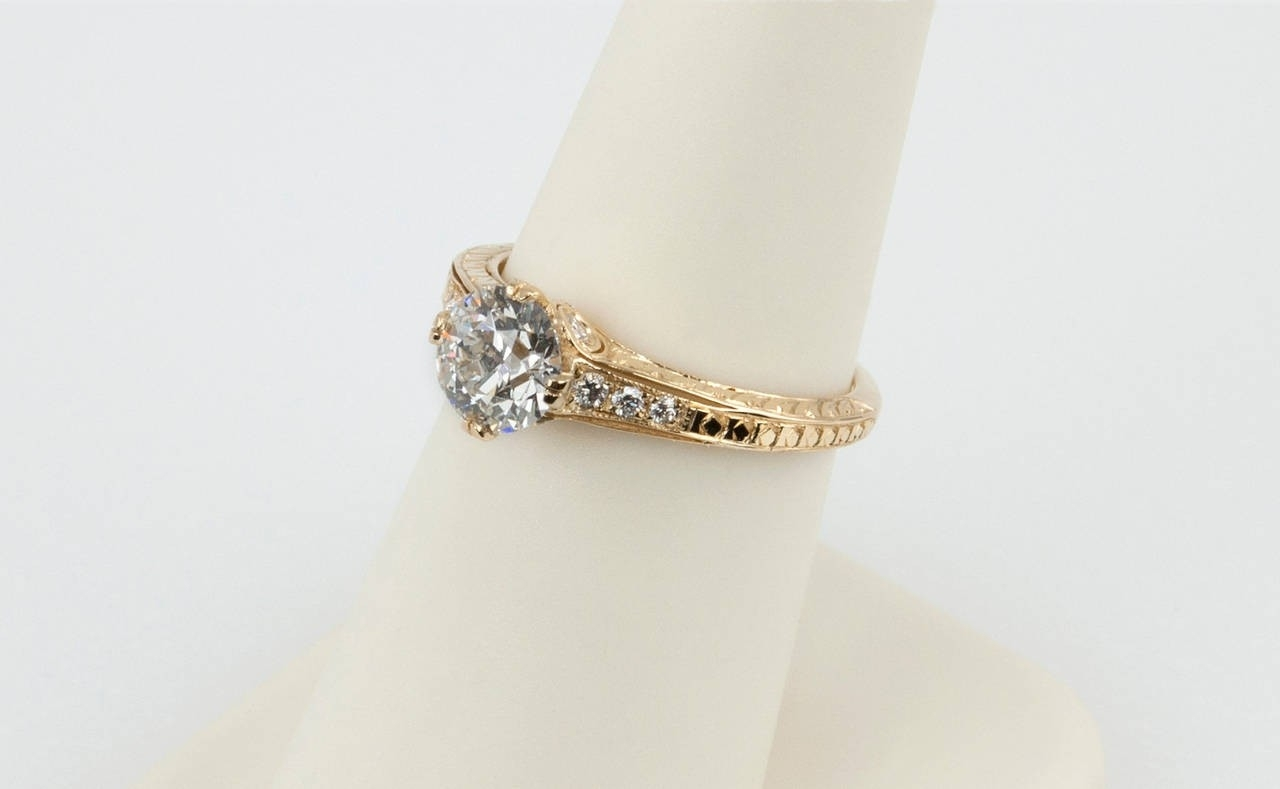 1.05 Carat Diamond And 18K Yellow Gold Vintage Inspired Engagement Ring Intended For Current Gold Vintage Style Diamond Rings (Gallery 15 of 15)