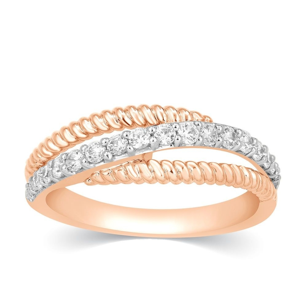 1/3 Ct Round Cut Real Diamond 10K Rose Gold Twisted Rope 3 Row Within Newest Diamond Twist Anniversary Bands In 10K Rose Gold (View 1 of 15)