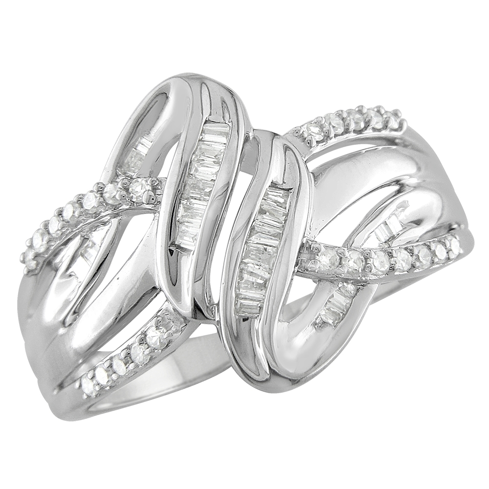 1/4 Ct Round & Baguette Diamond Twist Ring In Sterling Silver Throughout Most Up To Date Baguette Diamond Twist Wedding Bands (View 2 of 15)