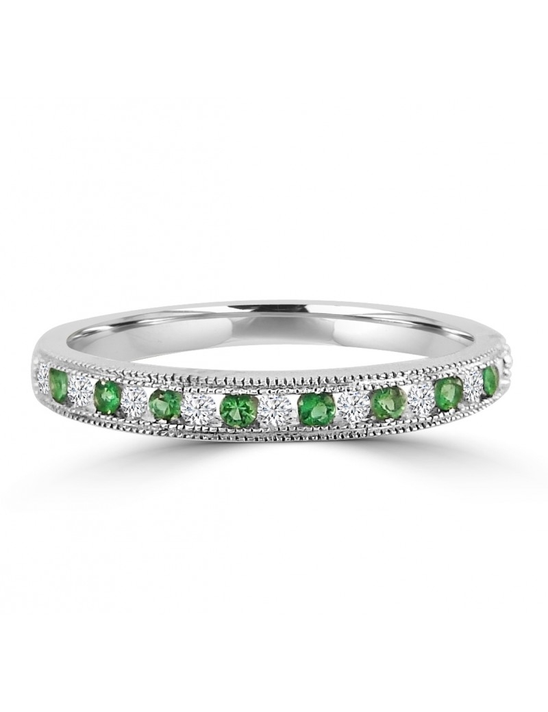 1/4Ct Channel Set Diamond & Emerald 10K Gold Milgrain Wedding With Most Popular Diamond And Milgrain Anniversary Bands In 10K White Gold (View 3 of 15)
