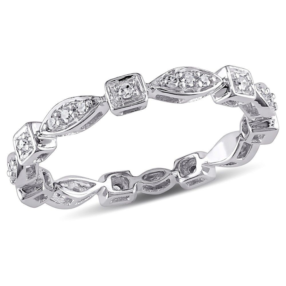 1/5 Ct Tw Diamond Vintage Eternity Ring In 10K White Gold – (5 With Latest Diamond Alternating Vintage Style Eternity Wedding Bands In 10K White Gold (View 2 of 15)