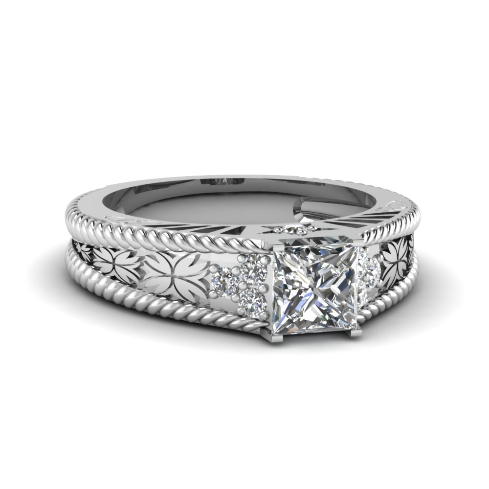 1 Carat Princess Cut Diamond Vintage Wedding Ring In 950 Platinum Throughout Most Recently Released Vintage Style Princess Cut Diamond Engagement Rings (View 11 of 15)