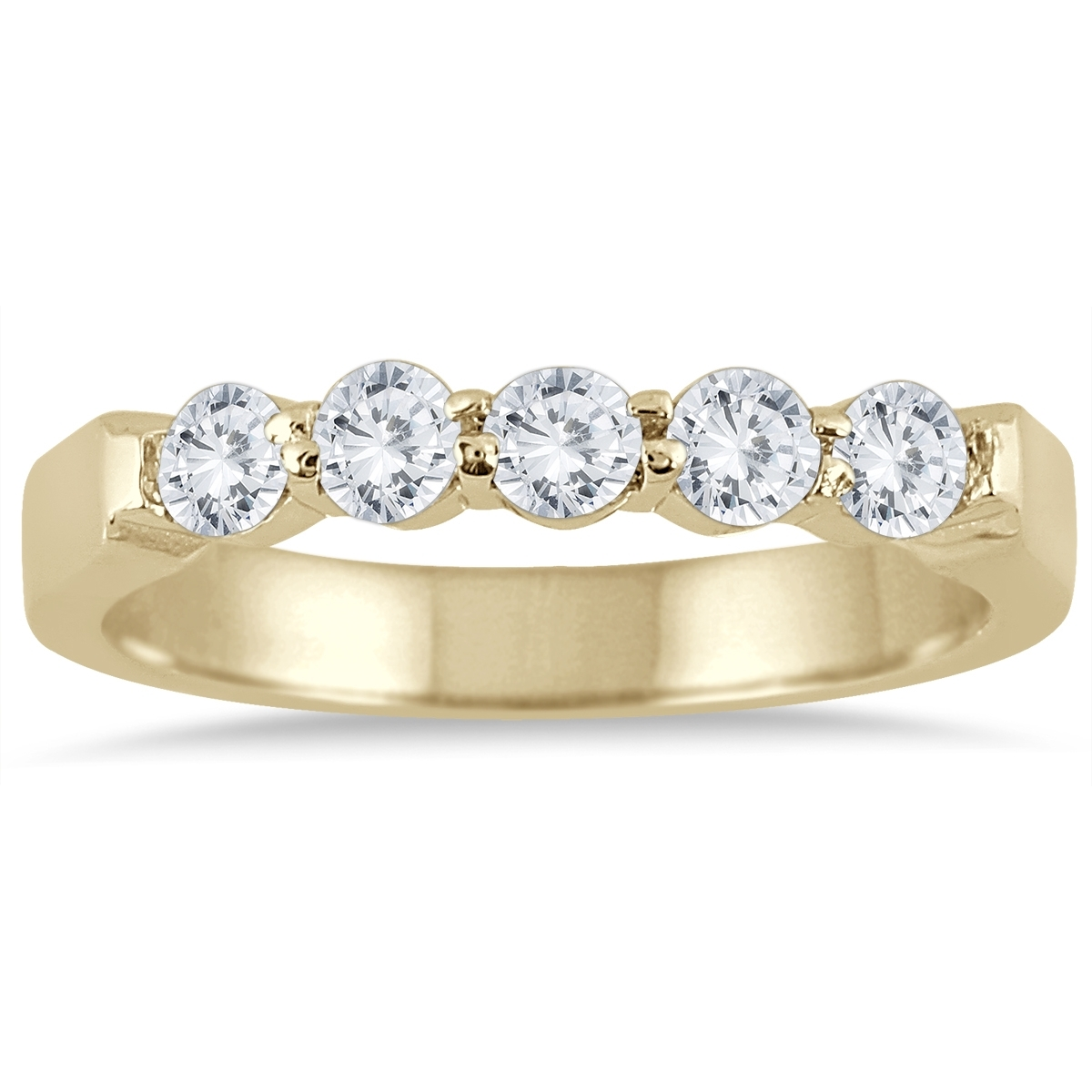 1 Carat Tw Five Stone Diamond Wedding Band In 10K Yellow Gold Intended For Most Up To Date Diamond Five Stone Bands In 10K Two Tone Gold (Gallery 11 of 15)