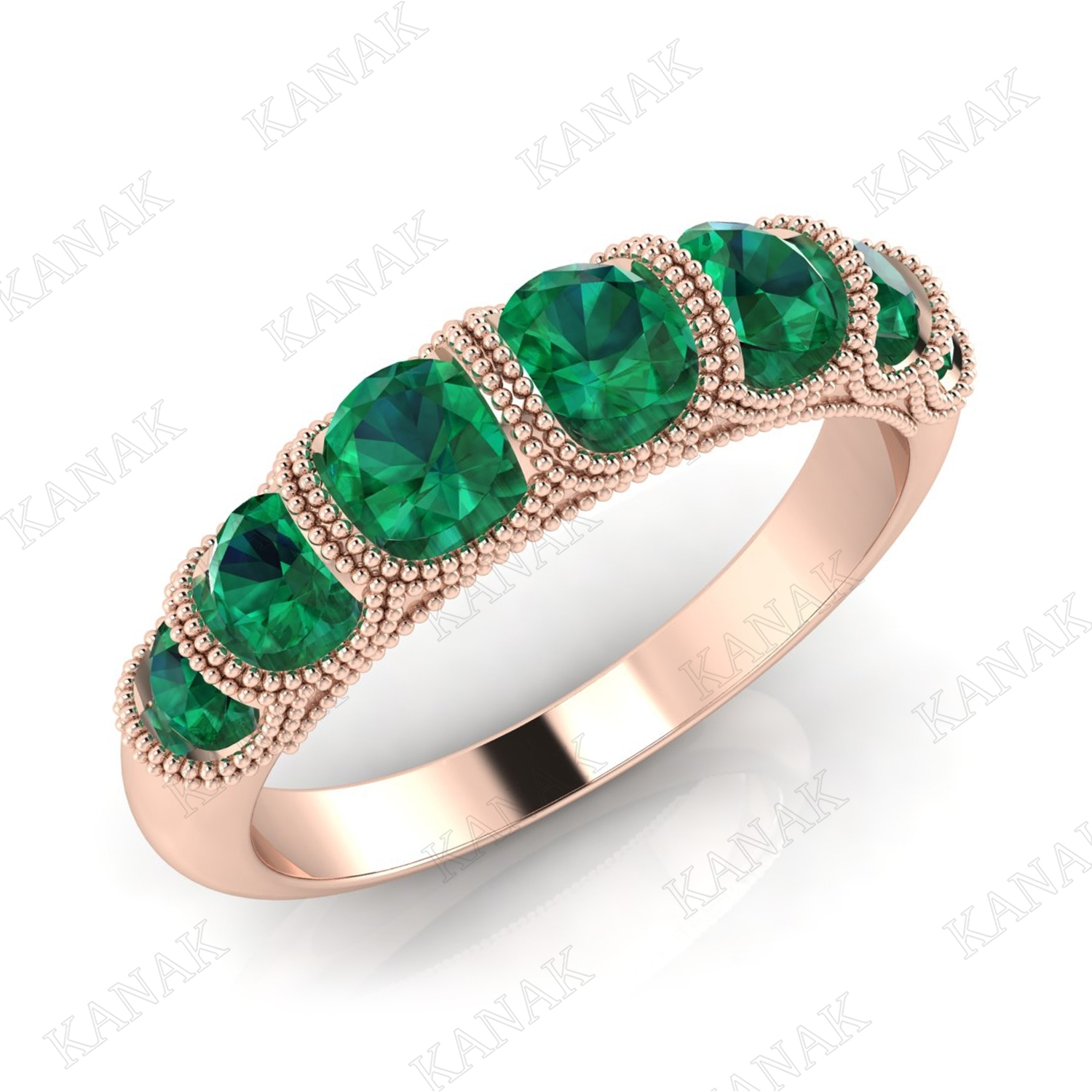 1 Ct Natural Emerald 14K Rose Gold Seven Stone Wedding Band Ring For With Most Up To Date Emerald And Diamond Seven Stone Wedding Bands In 14K Gold (View 1 of 15)