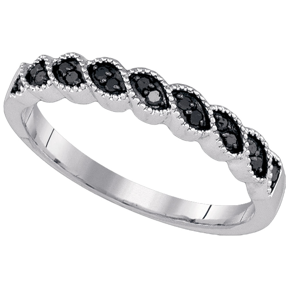 10K White Gold Black Color Enhanced Round Diamond Womens Wedding Throughout Most Recently Released Enhanced Black Diamond Anniversary Bands In 10K White Gold (View 3 of 15)