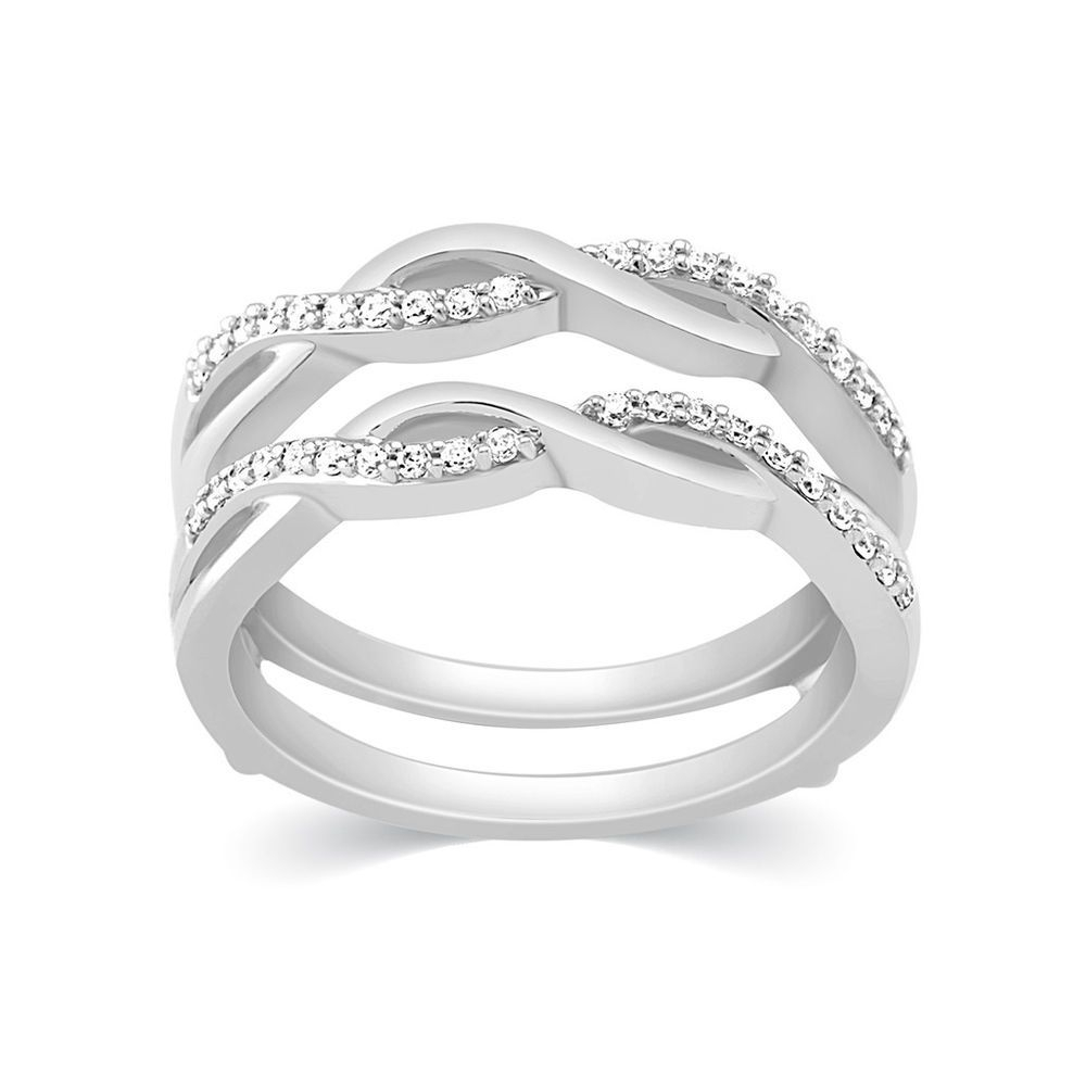10K White Gold Diamonds Wave Ribbon Style Solitaire Enhancer Ring Intended For Best And Newest Diamond Wave Vintage Style Anniversary Bands In 10K White Gold (View 2 of 15)