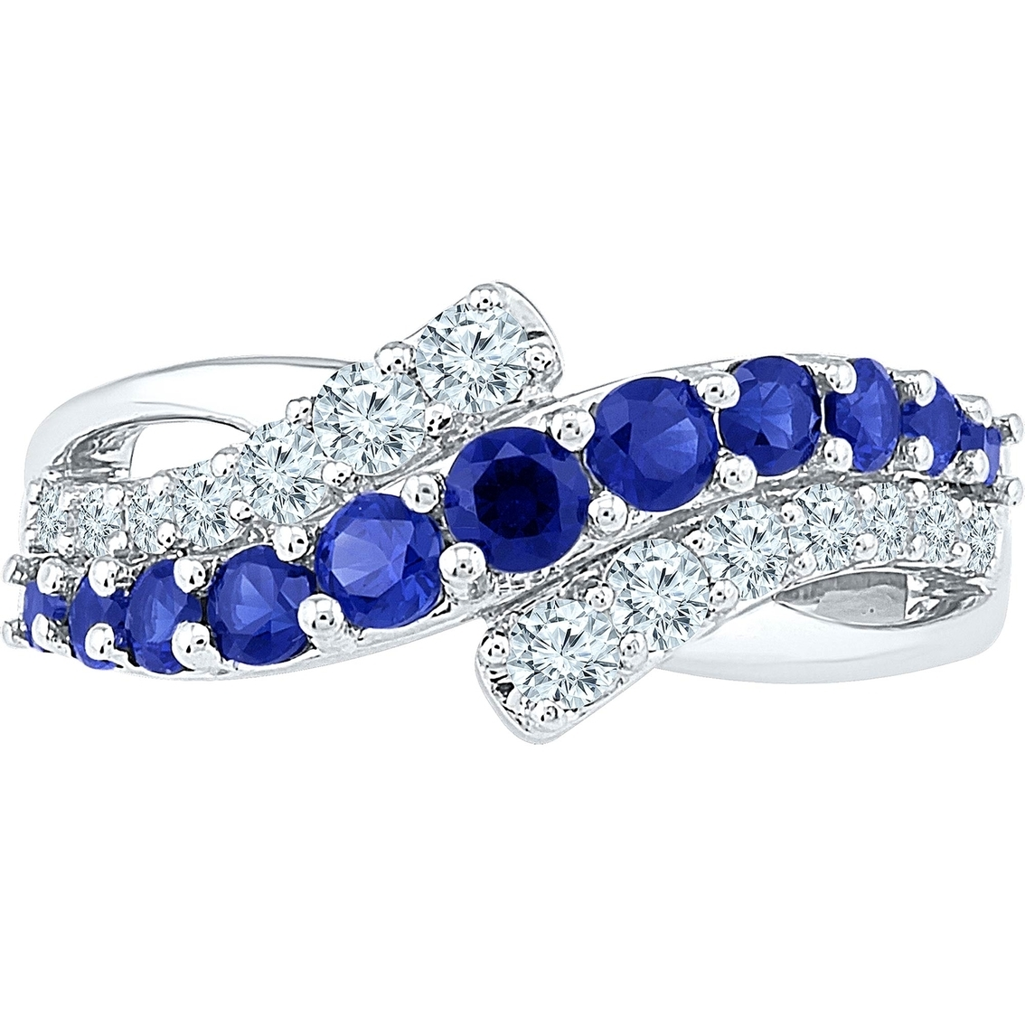 10K White Gold Lab Created Blue And White Sapphire Ring | Gemstone Throughout Most Popular Lab Created Blue Sapphire Five Stone Anniversary Bands In 10K White Gold (View 1 of 15)