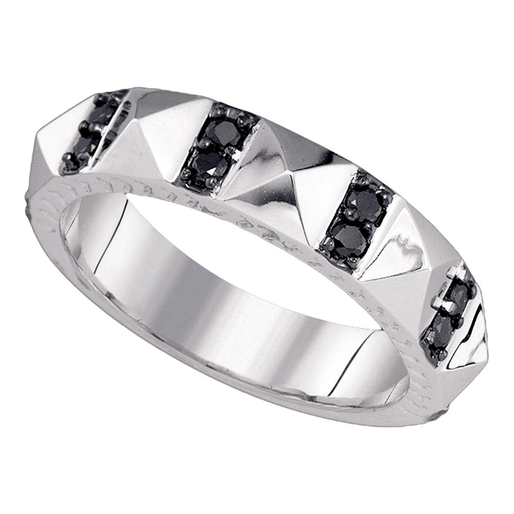 10K White Gold Mens Black Color Enhanced Diamond Wedding Anniversary With Regard To Most Popular Enhanced Black Diamond Anniversary Bands In 10K White Gold (View 4 of 15)