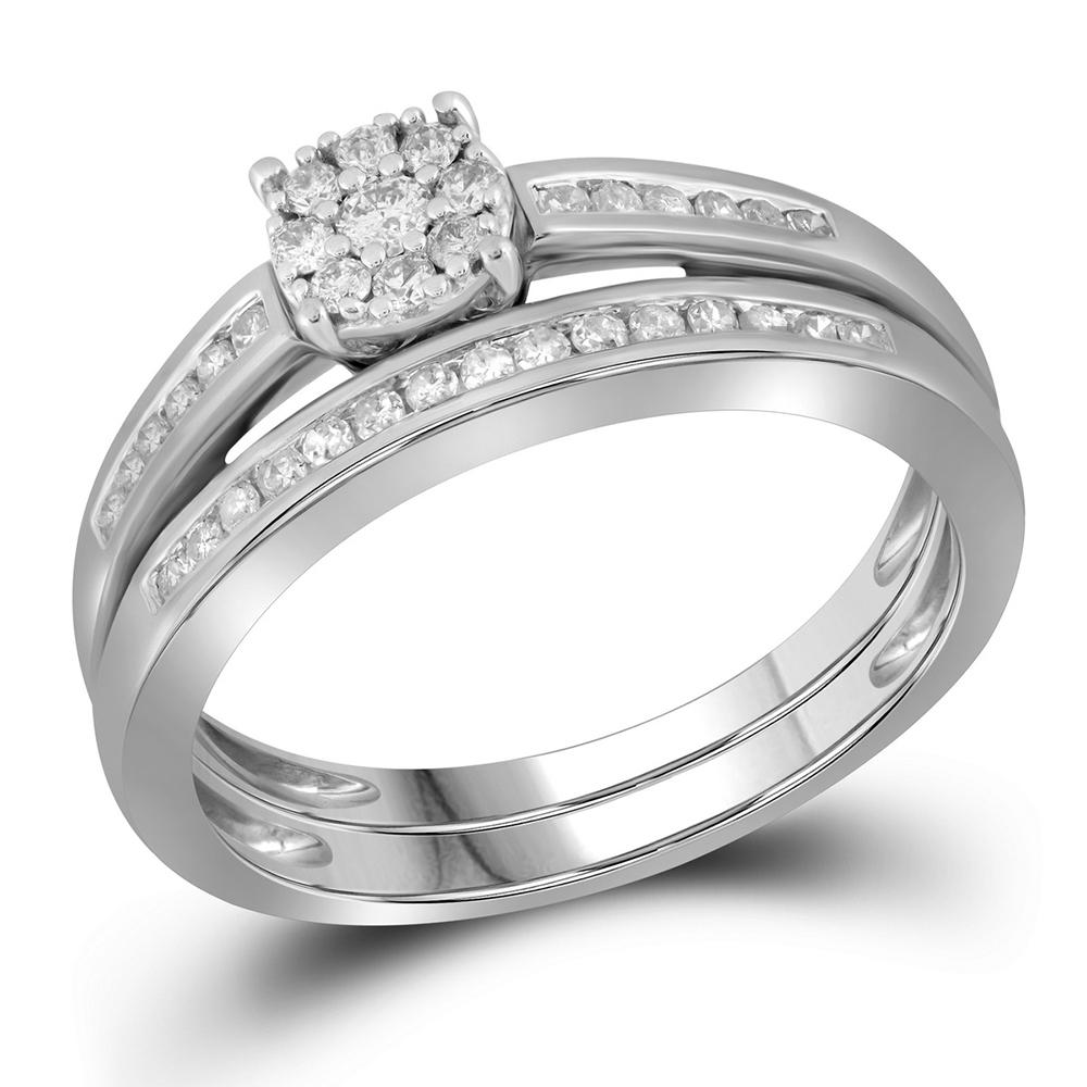 10K White Gold Round Diamond Milgrain Bridal Wedding Engagement Ring Intended For Best And Newest Diamond And Milgrain Anniversary Bands In 10K White Gold (View 4 of 15)