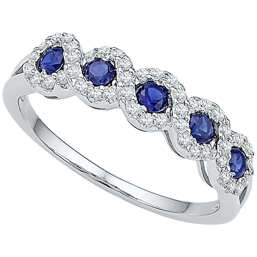 10K White Gold Round Lab Created Blue Sapphire Band Fashion Ring 1/2 Pertaining To Best And Newest Lab Created Blue Sapphire Five Stone Anniversary Bands In 10K White Gold (View 2 of 15)