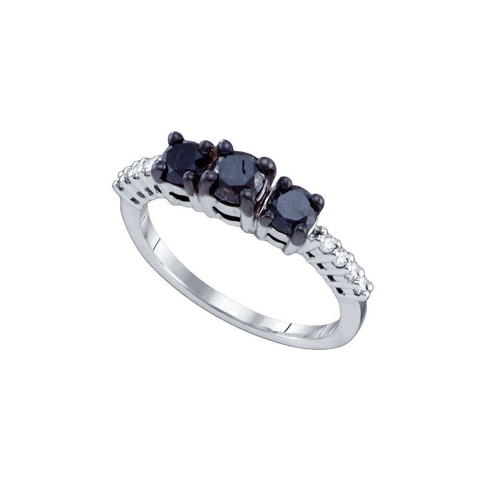 10K White Gold Womens Black 3 Stone Colored Diamond Bridal Wedding Within Latest Enhanced Black Diamond Anniversary Bands In 10K White Gold (View 6 of 15)