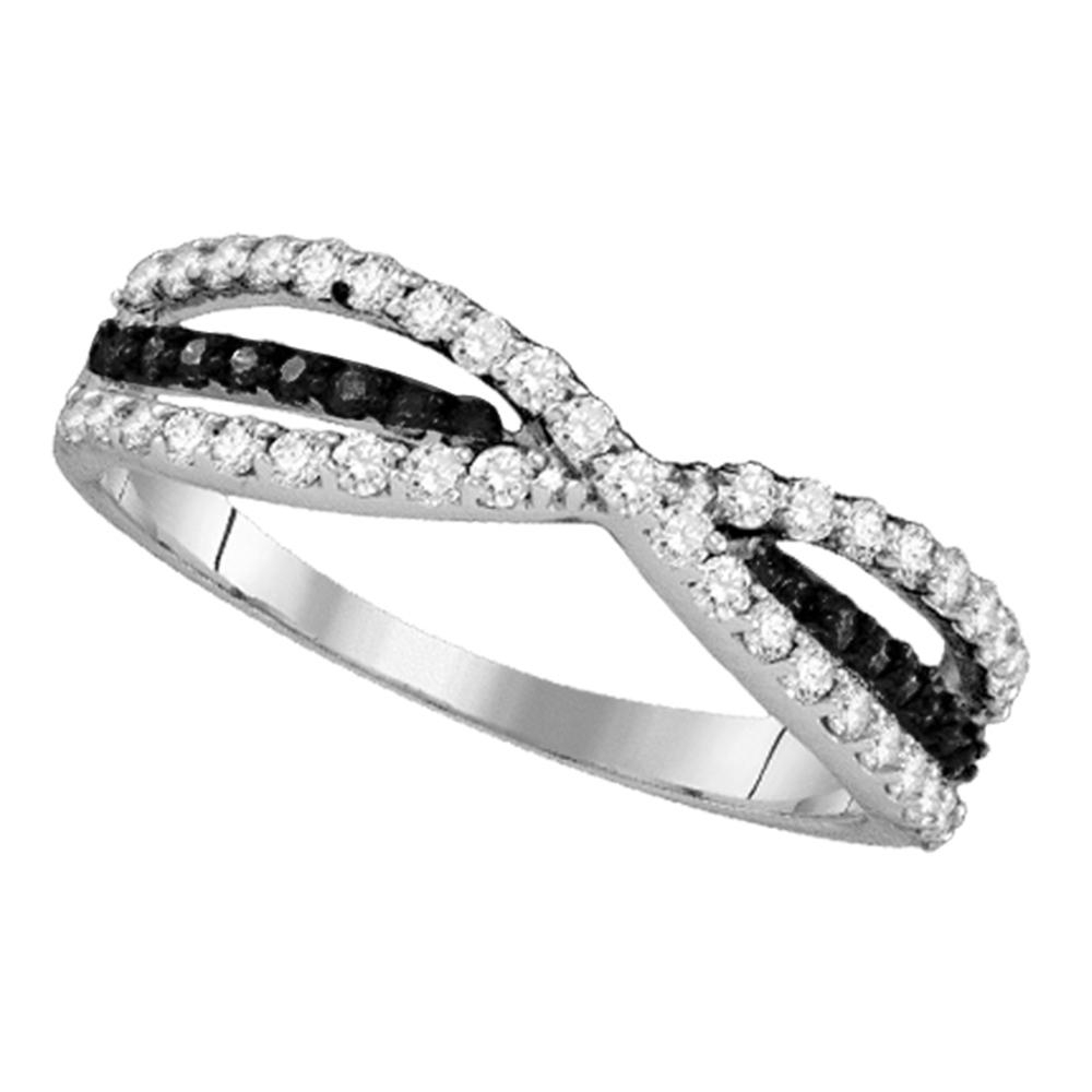 10K White Gold Womens Black Color Enhanced Diamond Whimsical Twist In Best And Newest Enhanced Black Diamond Anniversary Bands In 10K White Gold (View 7 of 15)