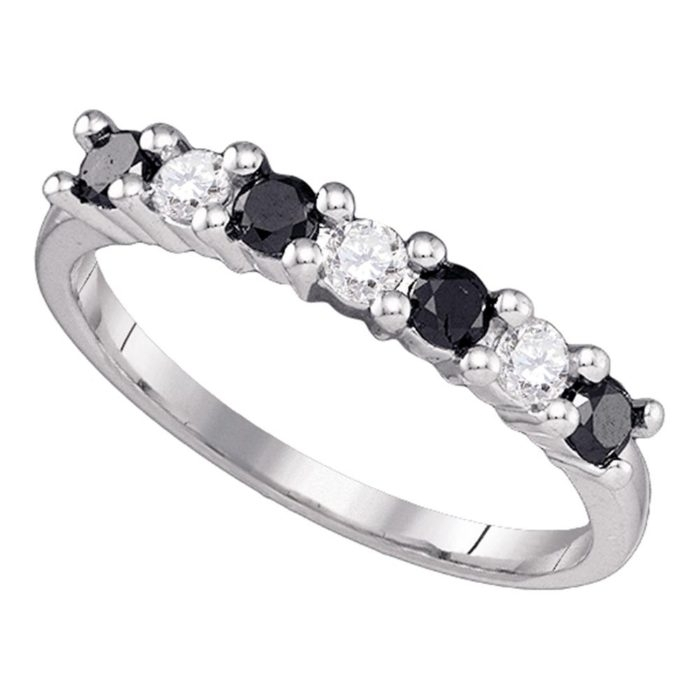 10K White Gold Womens Black Color Enhanced Round Diamond Wedding Throughout Recent Enhanced Black Diamond Anniversary Bands In 10K White Gold (View 8 of 15)