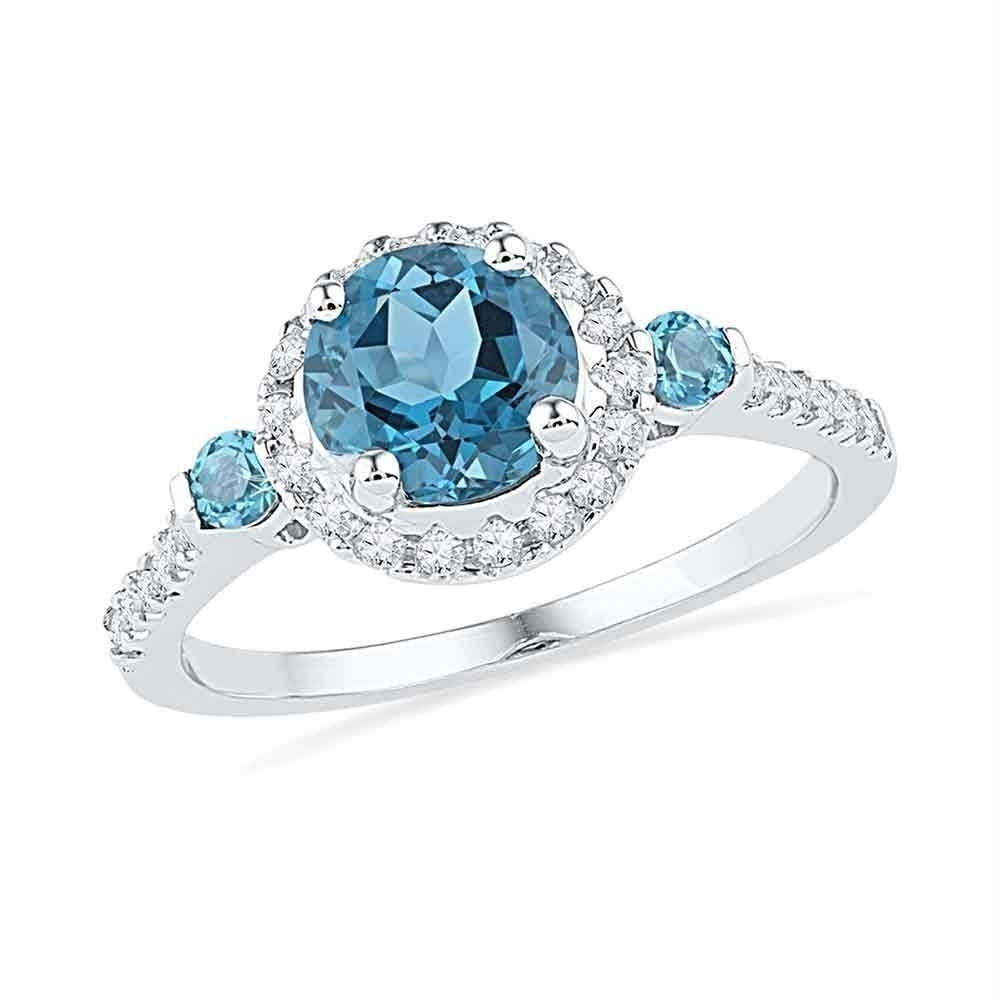 10Kt White Gold Women's Round Lab Created Blue Topaz Solitaire Pertaining To Most Recently Released Lab Created Blue Sapphire Five Stone Anniversary Bands In 10K White Gold (Gallery 5 of 15)