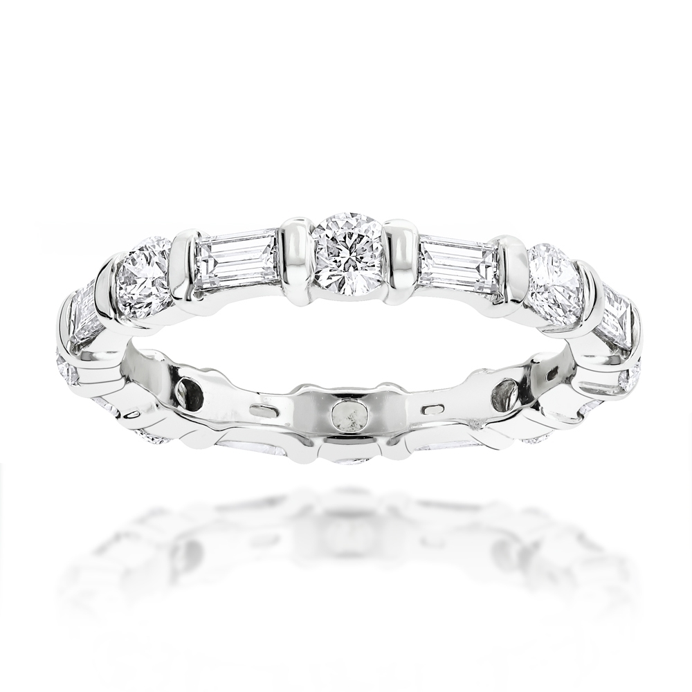 14K Gold Baguette And Round Diamond Eternity Bandluxurman 1.26Ct Throughout Best And Newest Round And Baguette Diamond Anniversary Bands In 14K White Gold (Gallery 5 of 15)