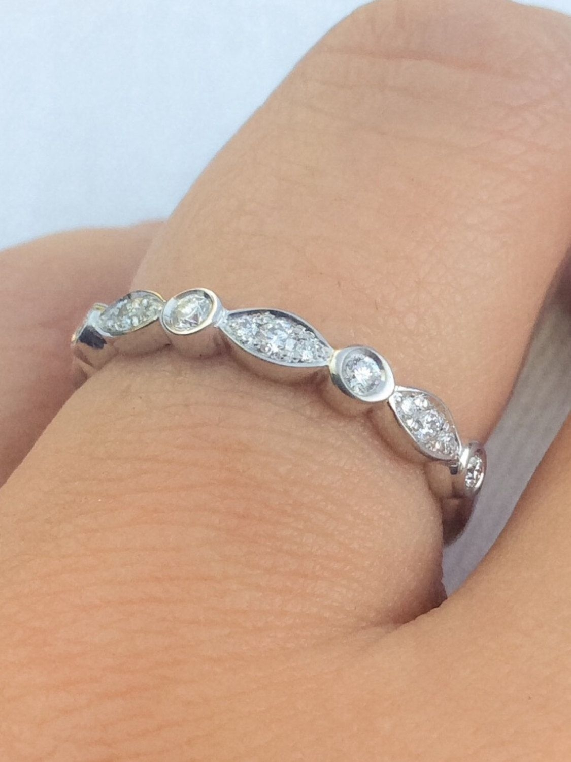 14K Marquise Dot Unique Diamond Band Art Deco Scalloped Bezel In Best And Newest Diamond Alternating Vintage Style Eternity Wedding Bands In 10K White Gold (View 4 of 15)