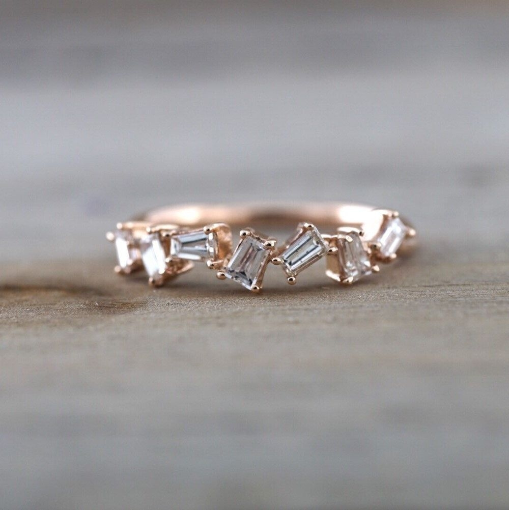 14K Rose Gold Dainty Baguette Cut Rectangle Diamond Band Stackable Inside Most Recent Baguette Diamond Twist Wedding Bands (Gallery 6 of 15)