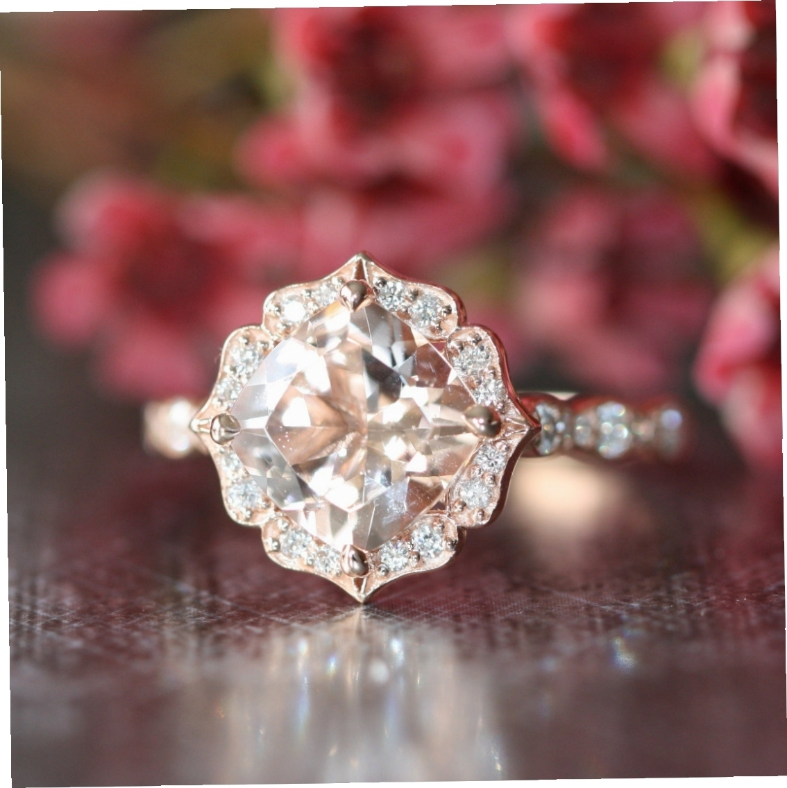 14K Rose Gold Vintage Floral Morganite Engagement Ring For Beautiful For Best And Newest Vintage Style Rose Gold Engagement Rings (View 2 of 15)