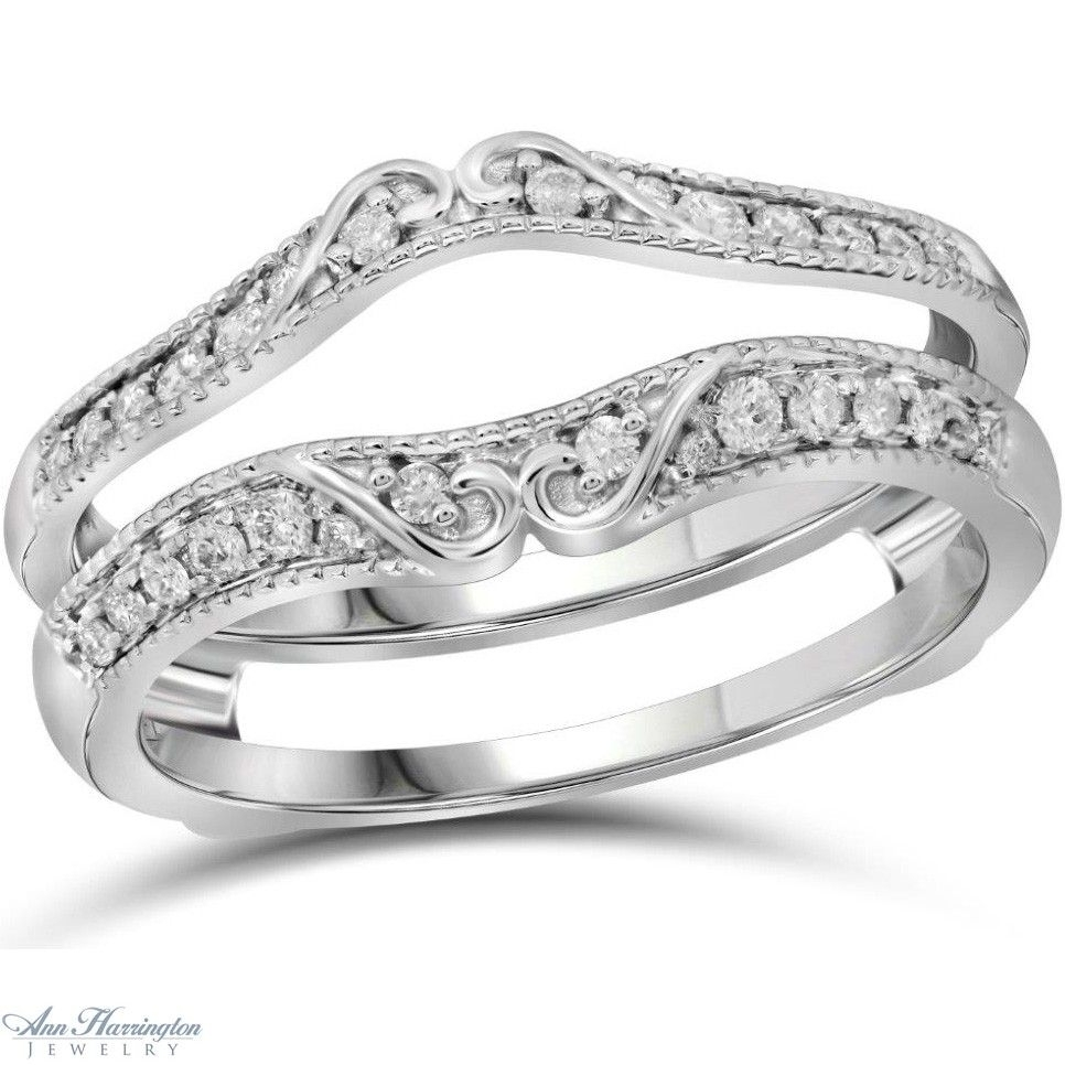 14K White Gold 1/4 Ct Tw Diamond Antique Style Scroll Design Ring In Current Diamond Vintage Style Contour Wedding Bands In 14K White Gold (View 3 of 15)