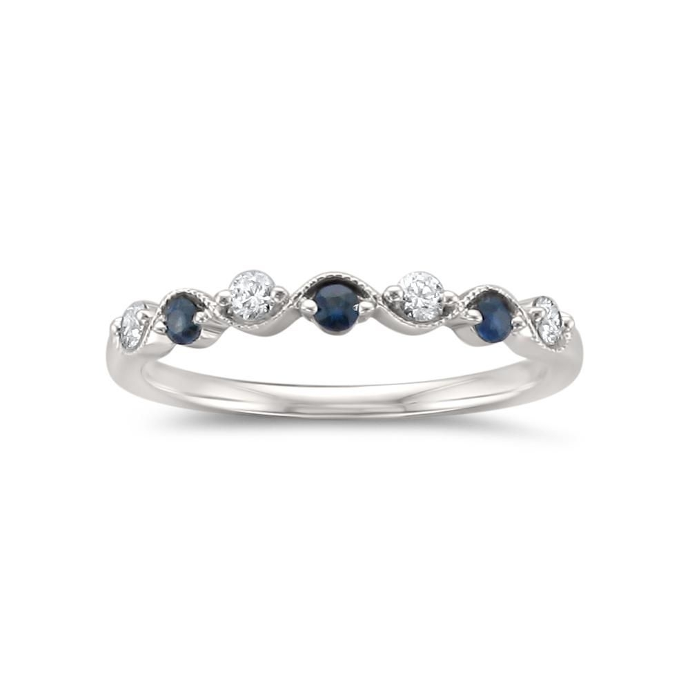 14K White Gold 7 Stone Round Diamond & Blue Sapphire Wedding Band Pertaining To Best And Newest Blue Sapphire And Diamond Seven Stone Wedding Bands In 14K Gold (View 2 of 15)