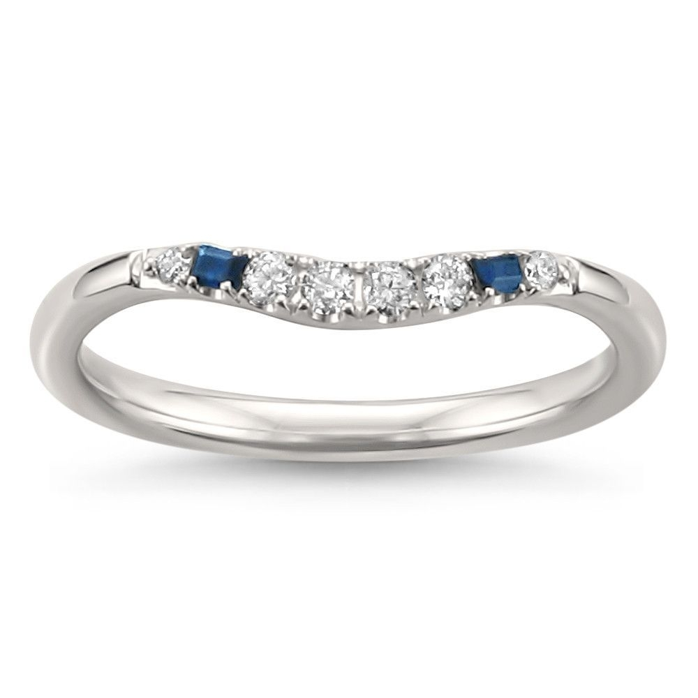 14k White Gold Blue Sapphire Baguette & Round Diamond Curved Wedding Regarding Most Current Diamond Vintage Style Contour Wedding Bands In 14k White Gold (View 8 of 15)