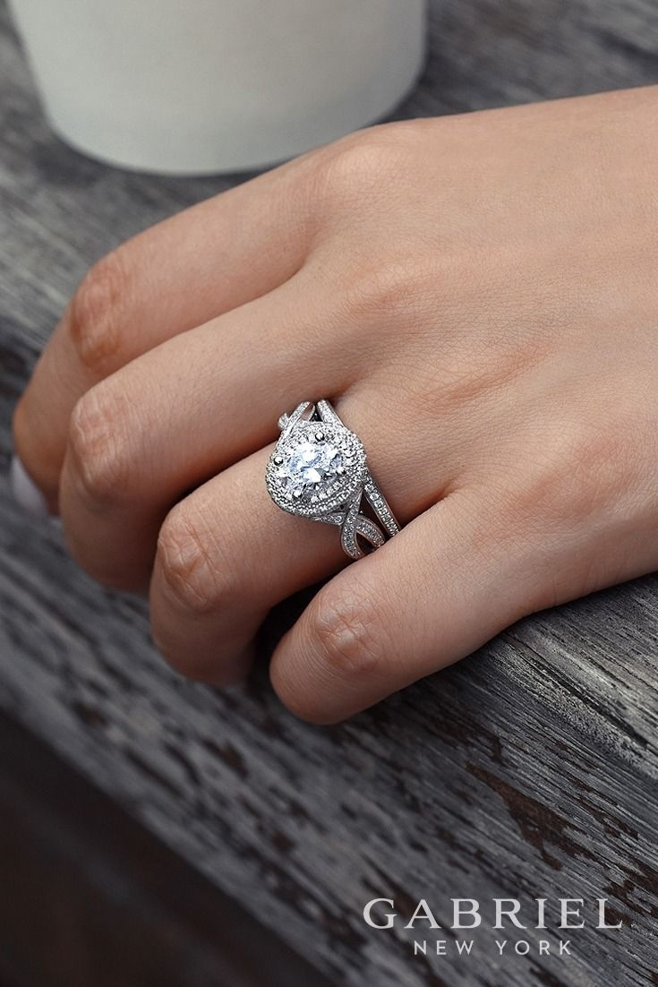 Featured Photo of Oval Diamond Double Frame Twist Vintage Style Bridal Rings In 14K White Gold