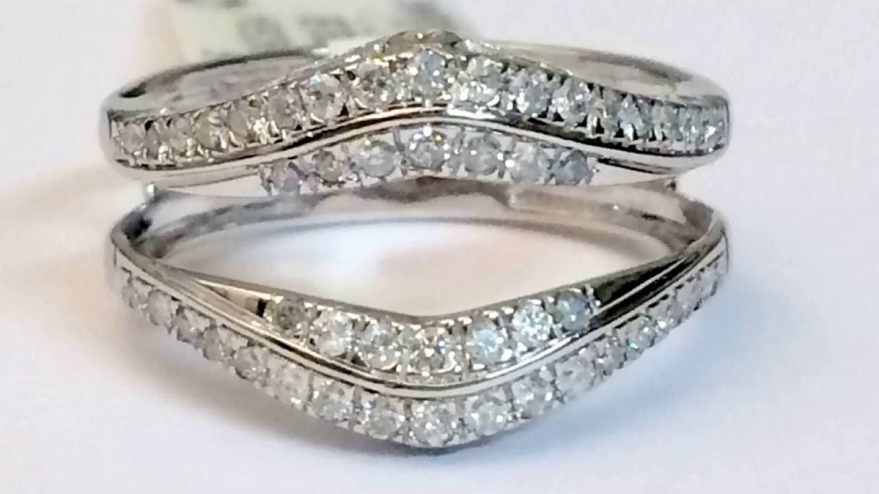 14K White Gold Pave Set Solitaire Enhancer 1/2Ct Diamond Ring Guard Within Latest Diamond Contour Solitaire Enhancers In 14K White Gold (Gallery 6 of 15)