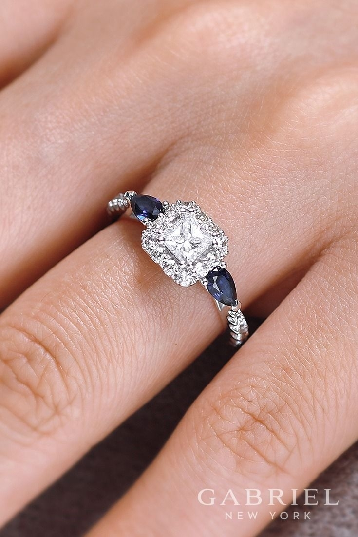 14K White Gold Princess Cut Halo Engagement Ring. Wear Sapphire Within Best And Newest Princess Cut Diamond Frame Vintage Style Twist Bridal Rings In 14K White Gold (Gallery 5 of 15)