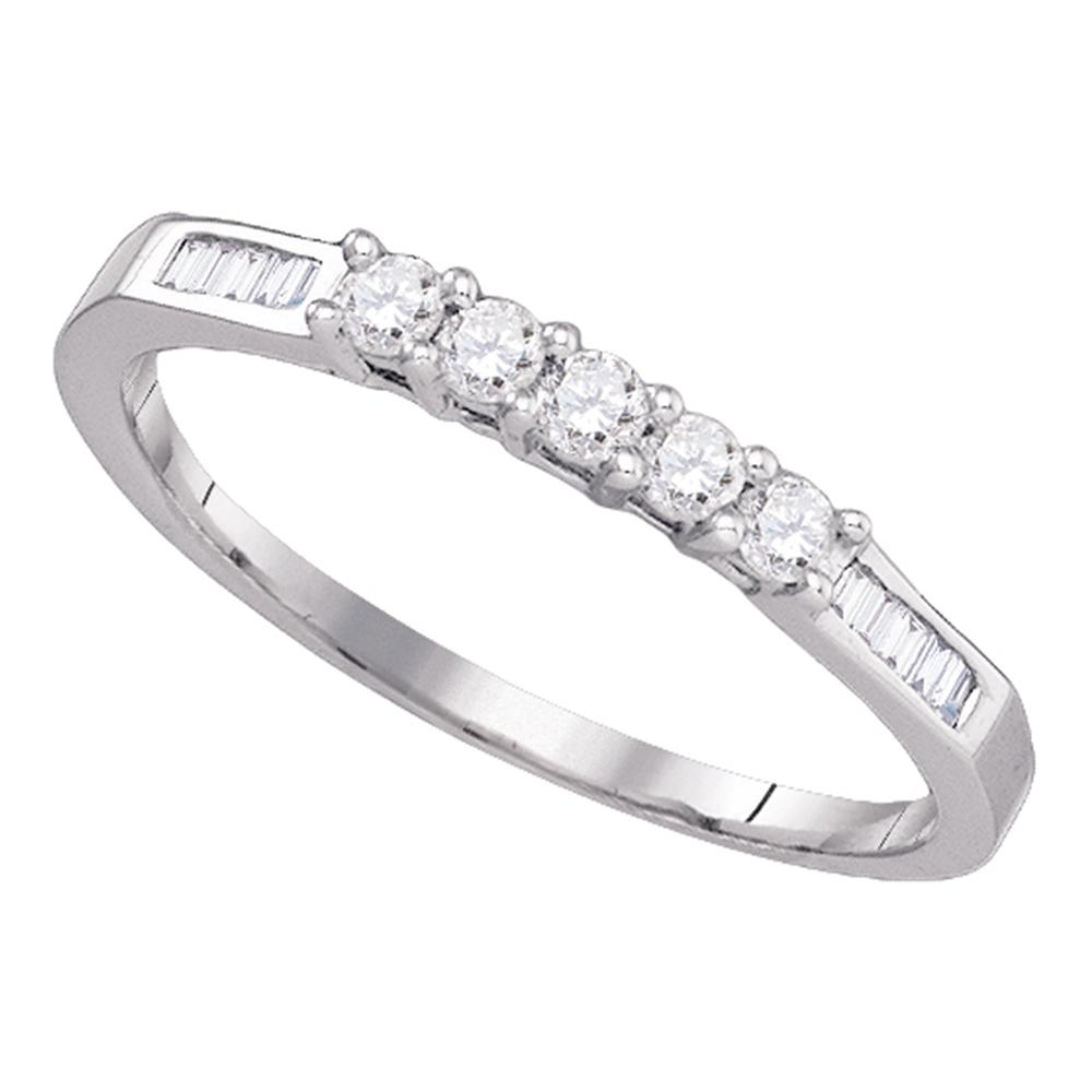 14k White Gold Round 5 Stone Baguette Diamond Womens Bridal Wedding Inside Most Popular Round And Baguette Diamond Anniversary Bands In 14k White Gold (View 9 of 15)