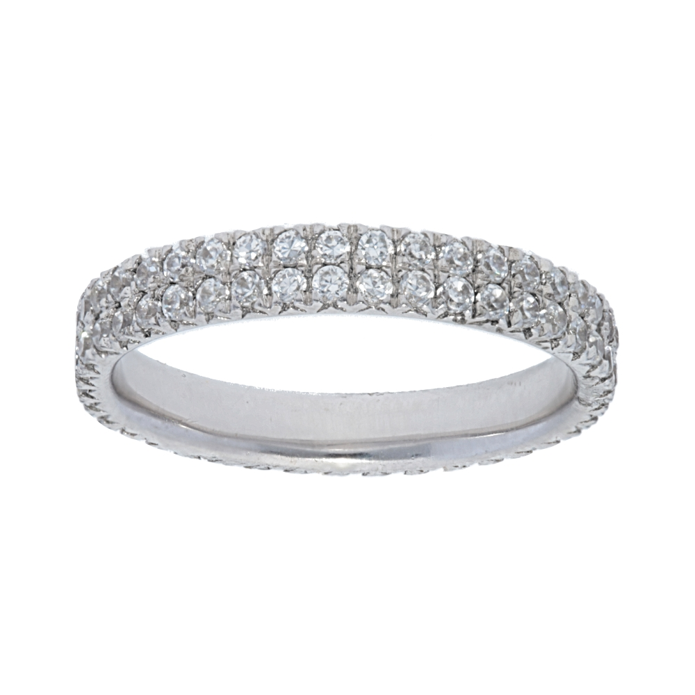 14K White Gold Two Row Diamond Eternity Band (.86Tw) Regarding Most Popular Diamond Double Row Anniversary Bands In 14K White Gold (Gallery 4 of 15)