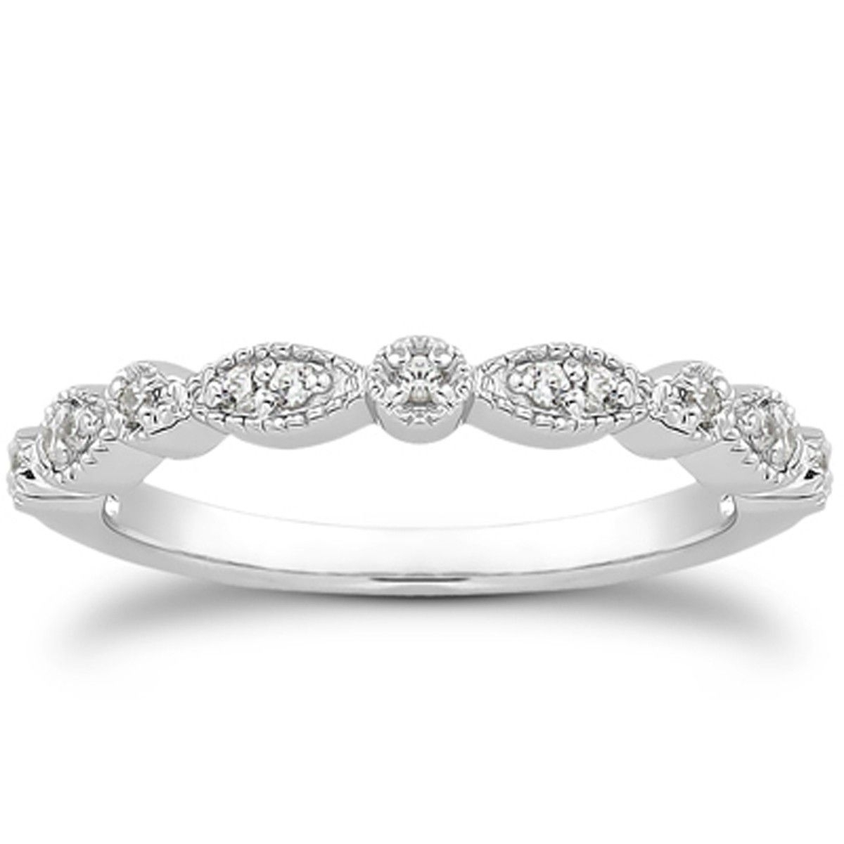 14K White Gold Vintage Look Fancy Pave Diamond Milgrain Wedding Ring Throughout Most Current Diamond Wave Vintage Style Anniversary Bands In 10K White Gold (View 3 of 15)